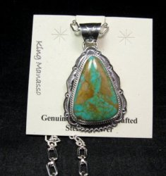 King Manassa Turquoise Sterling Silver Native American Pendant, Joe Piaso