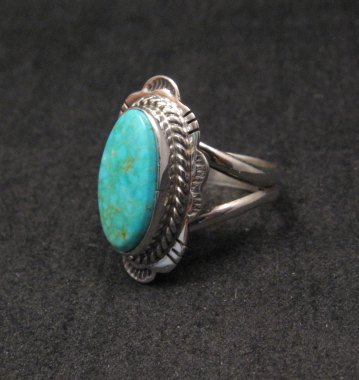 Image 1 of Navajo Native American Turquoise Sterling Silver Ring sz6-1/2, Burt Francisco