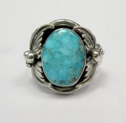 American Indian Navajo Native Turquoise Silver Ring Sz11, Bobby Piaso