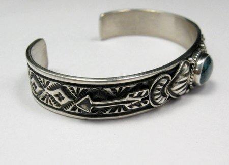 Image 1 of Narrow Navajo Blue Diamond Turquoise Silver Bracelet, Tsosie White