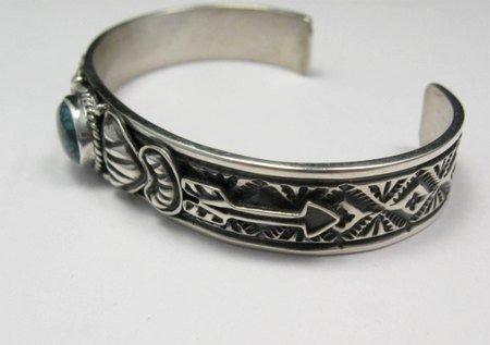 Image 2 of Narrow Navajo Blue Diamond Turquoise Silver Bracelet, Tsosie White