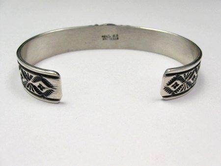 Image 3 of Narrow Navajo Blue Diamond Turquoise Silver Bracelet, Tsosie White
