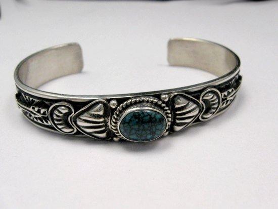 Image 4 of Narrow Navajo Blue Diamond Turquoise Silver Bracelet, Tsosie White