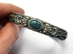 Narrow Navajo Blue Diamond Turquoise Silver Bracelet, Tsosie White