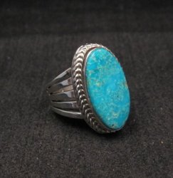 Navajo Native American Turquoise Silver Ring Dale Livingston sz8