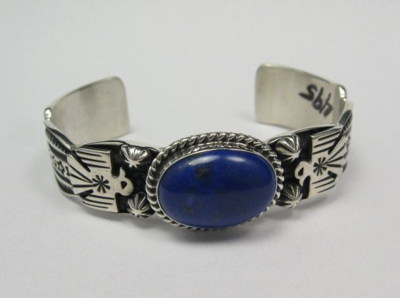 Image 0 of Narrow Andy Cadman Navajo Native American Lapis Silver Thunderbird Bracelet
