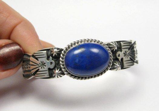 Image 1 of Andy Cadman Navajo Native American Lapis Silver Thunderbird Bracelet