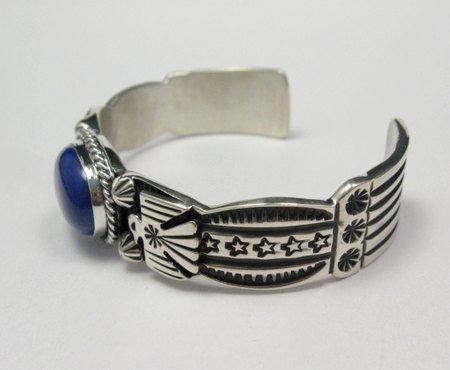 Image 2 of Narrow Andy Cadman Navajo Native American Lapis Silver Thunderbird Bracelet
