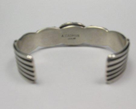 Image 3 of Narrow Andy Cadman Navajo Native American Lapis Silver Thunderbird Bracelet