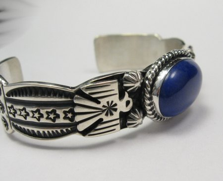 Image 4 of Andy Cadman Navajo Native American Lapis Silver Thunderbird Bracelet