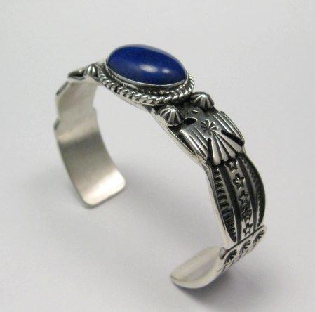Image 5 of Narrow Andy Cadman Navajo Native American Lapis Silver Thunderbird Bracelet
