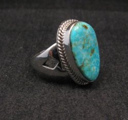 Navajo Native American Turquoise Sterling Silver Ring sz7-1/2, Sampson Jake