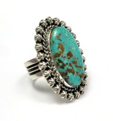 Native American Navajo Pilot Mountain Turquoise Ring Sz7-1/2, Happy Piasso