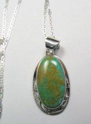 King Manassa Turquoise Silver Pendant, Phillip Sanchez, Native American