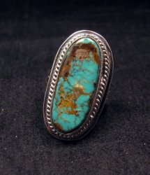 Navajo Native American Pilot Mountain Turquoise Silver Ring sz7, Sampson Jake