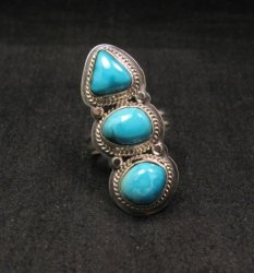 Native American Navajo 3-stone Cloud 9 Turquoise Silver Ring, sz 8