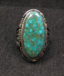 Navajo Native American Turquoise Sterling Silver Ring sz8, Phillip Sanchez