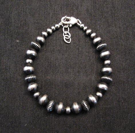 Image 0 of Sterling Silver Navajo Hand Finished Fluted Bead Bracelet