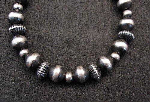 Image 1 of Sterling Silver Navajo Hand Finished Fluted Bead Bracelet