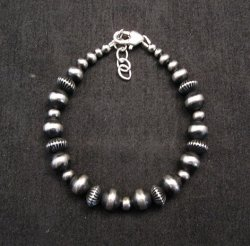Sterling Silver Navajo Hand Finished Fluted Bead Bracelet