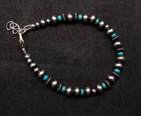Image 3 of Navajo Hand Finished Sterling Silver & Turquoise Bead Bracelet 7-1/2 to 8-1/2
