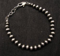 Native American 6mm Bead Navajo Pearls Sterling Silver Bracelet