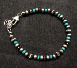 Navajo Hand Finished Sterling Silver & Turquoise Bead Bracelet