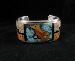Native American Gilbert Calavaza Zuni Inlay Bear Pueblo Bracelet