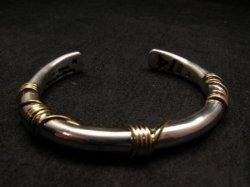 Navajo Orville Tsinnie 14K Gold & Sterling Silver Wire Wrap Bracelet, S,M,L