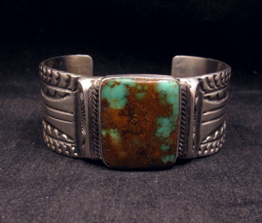 Image 0 of Orville Tsinnie Traditional Old Style Navajo Turquoise Silver Bracelet Large