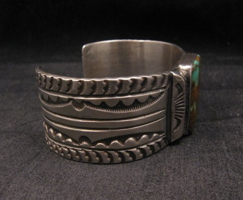 Image 1 of Orville Tsinnie Traditional Old Style Navajo Turquoise Silver Bracelet Large
