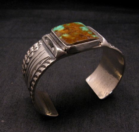 Image 2 of Orville Tsinnie Traditional Old Style Navajo Turquoise Silver Bracelet Large