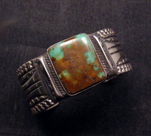 Image 3 of Orville Tsinnie Traditional Old Style Navajo Turquoise Silver Bracelet Large