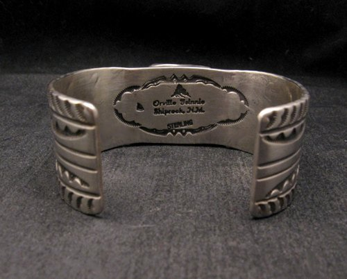 Image 4 of Orville Tsinnie Traditional Old Style Navajo Turquoise Silver Bracelet Large