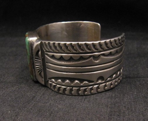 Image 5 of Orville Tsinnie Traditional Old Style Navajo Turquoise Silver Bracelet Large
