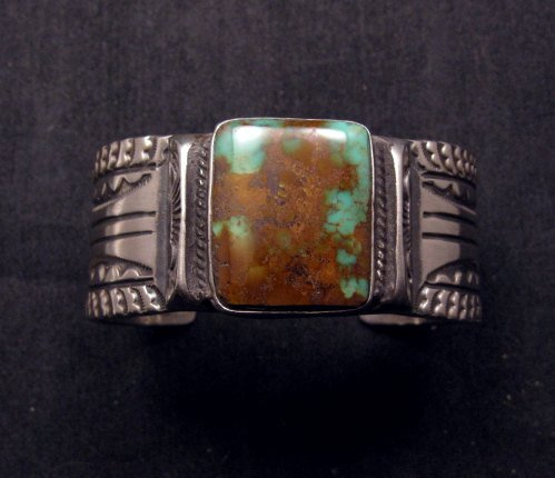 Image 6 of Orville Tsinnie Traditional Old Style Navajo Turquoise Silver Bracelet Large