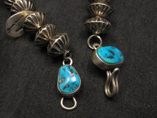 Image 10 of Orville Tsinnie Navajo Handmade Sterling Silver Stamped Fluted Bead Necklace
