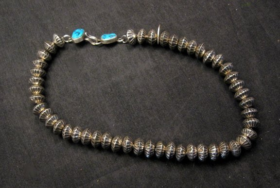 Image 12 of Orville Tsinnie Navajo Handmade Sterling Silver Stamped Fluted Bead Necklace