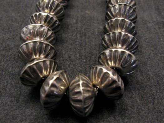 Image 3 of Orville Tsinnie Navajo Handmade Sterling Silver Stamped Fluted Bead Necklace