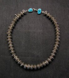 Orville Tsinnie Navajo Handmade Sterling Silver Stamped Fluted Bead Necklace