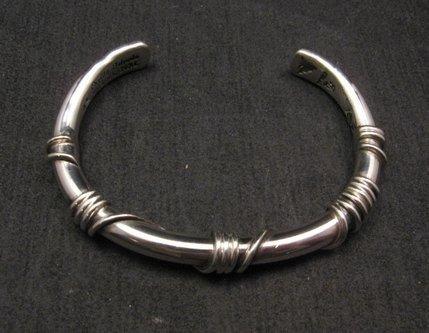 Image 1 of Heavy Navajo Orville Tsinnie Sterling Silver Wire Wrap Bracelet, Ex-Large
