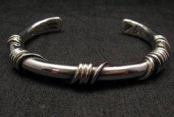 Heavy Navajo Orville Tsinnie Sterling Silver Wire Wrap Bracelet, Ex-Large