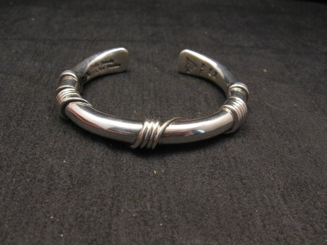 Image 0 of Navajo Orville Tsinnie Sterling Silver Wire Wrap Bracelet, X-Small