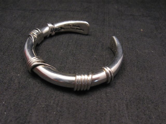Image 2 of Navajo Orville Tsinnie Sterling Silver Wire Wrap Bracelet, X-Small