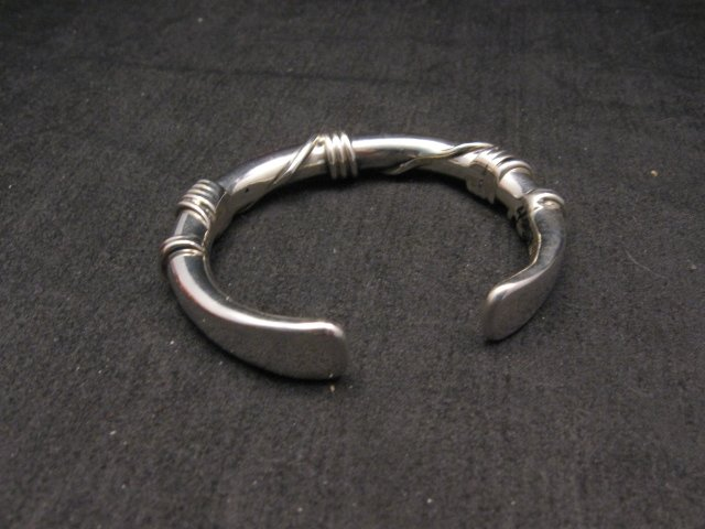 Image 3 of Navajo Orville Tsinnie Sterling Silver Wire Wrap Bracelet, X-Small