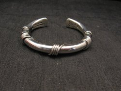 Navajo Orville Tsinnie Sterling Silver Wire Wrap Bracelet, X-Small