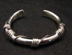 Navajo Orville Tsinnie Sterling Silver Wire Wrap Bracelet, Small