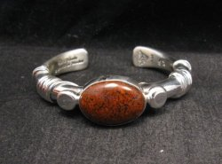Navajo Orville Tsinnie Dinosaur Bone Silver Wrap Bracelet, Ex-Small