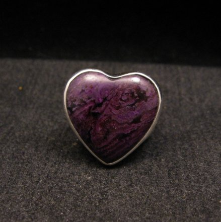 Image 0 of Navajo Orville Tsinnie Native American Sugilite Heart Silver Ring sz6-1/2