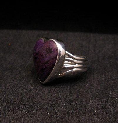 Image 1 of Navajo Orville Tsinnie Native American Sugilite Heart Silver Ring sz6-1/2